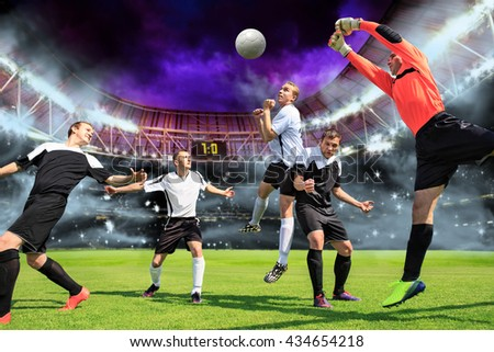 scenes from a soccer or football game with male player - stock photo