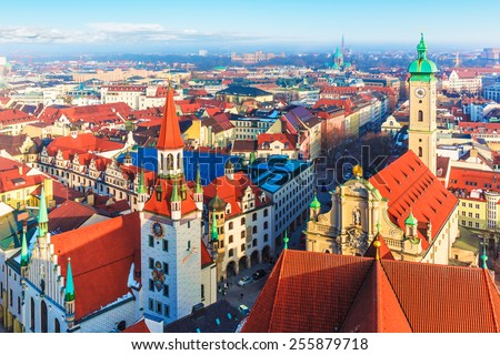 Scenic aerial panorama of the Old Town architecture of Munich, Bavaria, Germany - stock photo