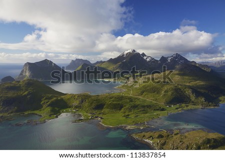 Scenic aerial view of dramatic coastline on Lofoten islands in Norway - stock photo