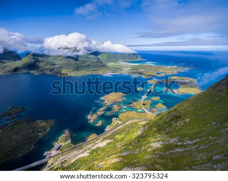 Scenic aerial view of road bridges connecting islands on Lofoten in Norway - stock photo