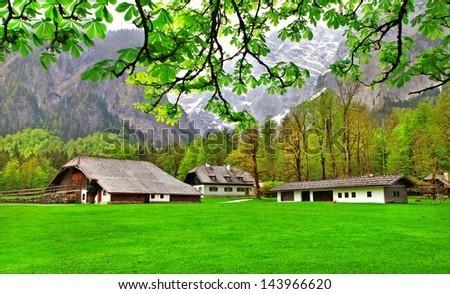 scenic Alpine nature, village in mountains  - stock photo
