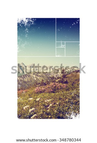 Scenic Alpine View - Flowers in Field in front of Snow Covered Mountain Ridge with Geometric Overlay and Rough Edges - stock photo