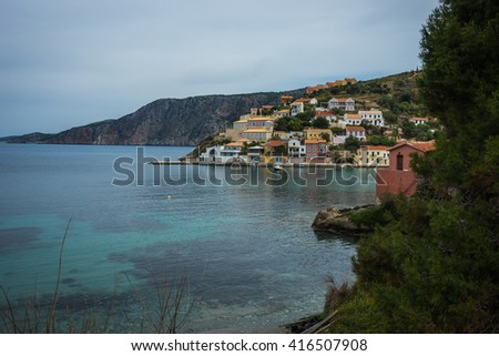 Scenic and beautiful view to Asos city on Kefalonia in Greece