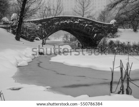 Scenic and Serene Winter Landscape of a Bridge over a Snow Covered Pond and Its Banks