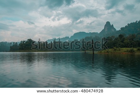 Scenic and unique landscape at Chieou Laan lake in Thailand