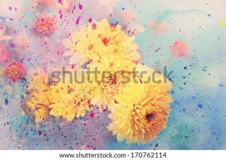 scenic artwork with aster flowers and colorful watercolor splatter - stock photo