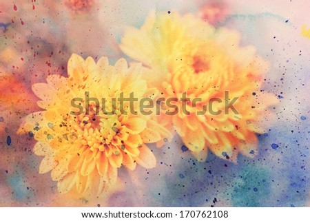 scenic artwork with beautiful aster flowers - stock photo