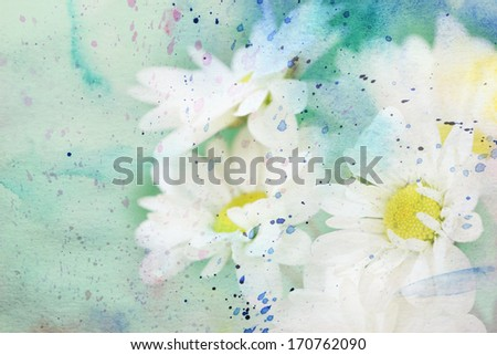 scenic artwork with delicate chamomiles and watercolor splatter - stock photo