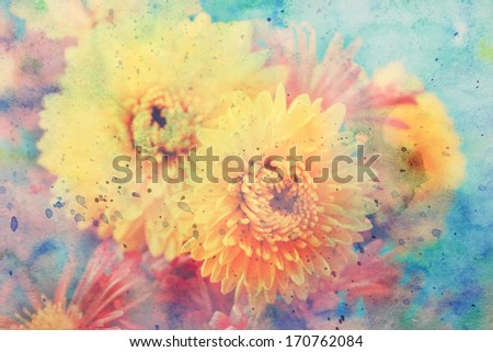 scenic artwork with yellow aster flowers and watercolor strokes - stock photo