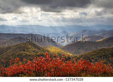 Scenic Autumn Blue Ridge Parkway Fall Foliage Crepuscular Light Rays travel and vacation destination