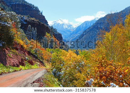 Scenic back road in San Juan mountains - stock photo