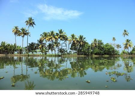 Scenic backwater destinations of Kerala, India. - stock photo