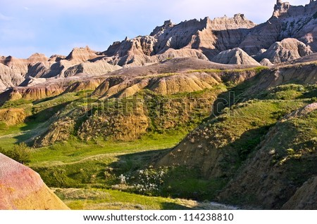 Scenic Badlands Horizontal Photography. Badlands National Park in South Dakota, USA. Nature Photography Collection. - stock photo