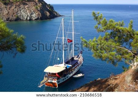 Scenic bay near to Kemer, Turkey - stock photo