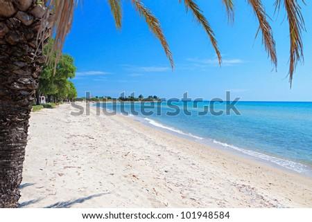 Scenic beach at Chalkidiki peninsula of north Greece near Thessaloniki city - stock photo