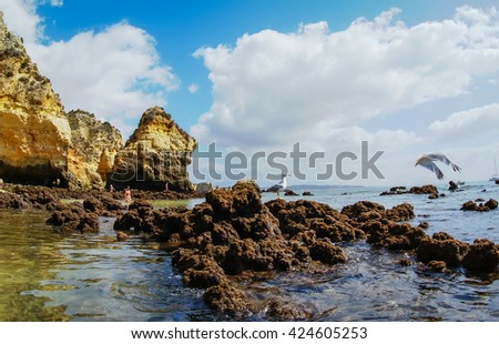 Scenic beach at Lagos, Portugal