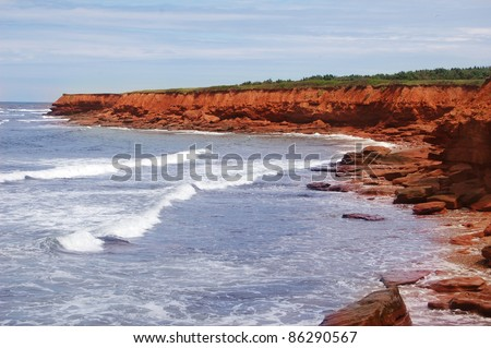 scenic beaches at the prince edward island in canada - stock photo