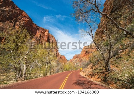 Scenic by Way in the Zion National Park. Park Road in Spring. - stock photo