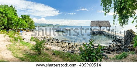 Scenic calm panoramic view of the Northern coast of Mauritius - stock photo