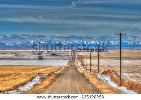 Scenic Canadian farmland in winter - stock photo