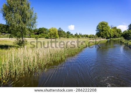 Scenic canal near Templin city, East Germany - stock photo