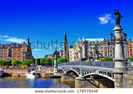 scenic canals of Stocholm , Sweden - stock photo