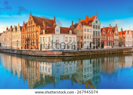 Scenic city view of Bruges canal Spiegelrei with beautiful medieval houses and reflections, Belgium - stock photo