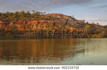 Scenic cliffs along Australian  river at sunrise sunset