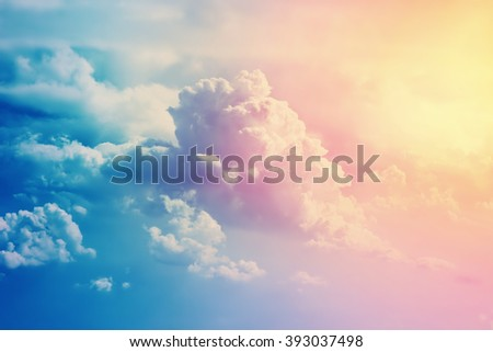 Scenic cloudscape with beautiful clouds in sunny day. - stock photo