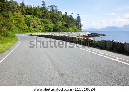 Scenic coast road in Scotland - stock photo