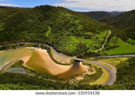 Scenic coastal landscape along Great Ocean Road as viewed from Teddy's Lookout in Victoria, Australia