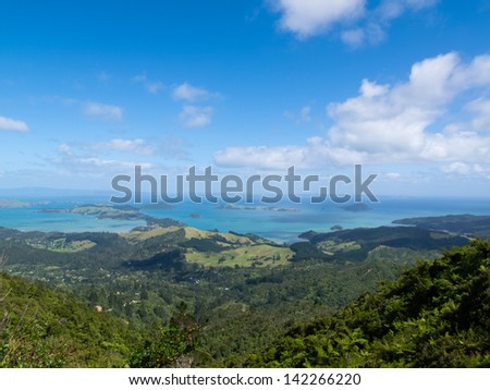 Scenic coastline seascape of Coromandel Peninsula  North Island of New Zealand - stock photo