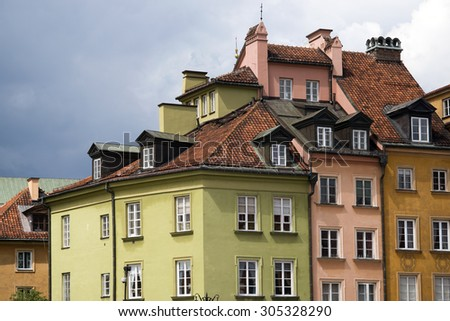 scenic color city buildings  in Warsaw old city
