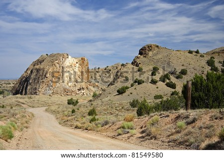 Scenic Country Road in Rural New Mexico - stock photo
