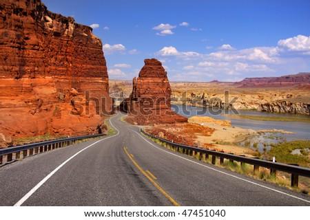 Scenic desert drive - stock photo