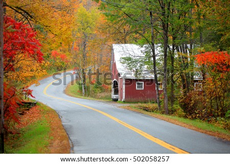 Scenic drive across New England fall foliage