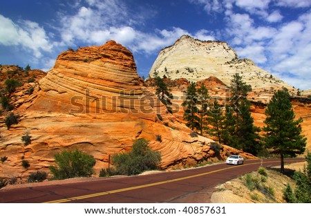 Scenic drive in Zion national park - stock photo