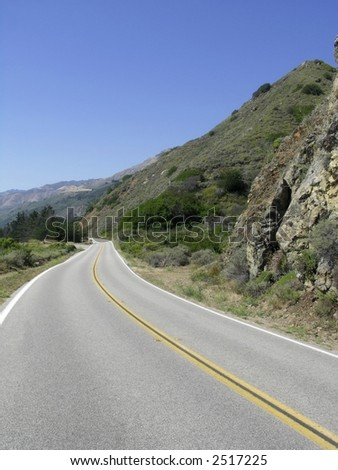 Scenic drive on highway 1 along the California coastline.