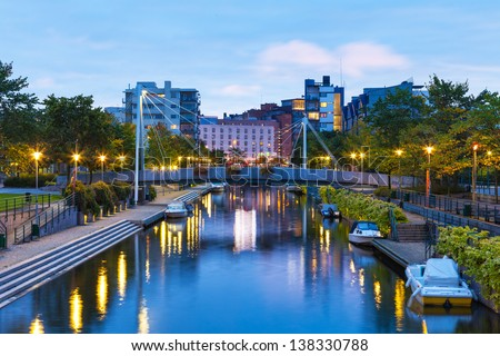 Scenic evening view of the sea canal in Ruoholahti district in Helsinki, Finland - stock photo