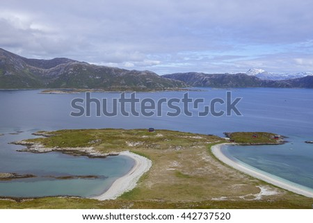 Scenic fjord coastline in the Northern Norway.Troms.Sandoya. - stock photo