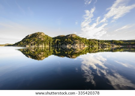 scenic fjord landscape in the south of Norway, Europe  - stock photo