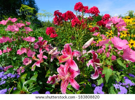 Scenic flower garden filled with vibrant perennials in full bloom on a clear summer day.  Vertical orientation.  - stock photo