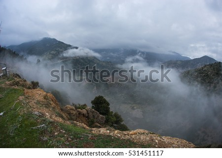 Scenic foggy autumn landscape in mountains near Kalavrita on Peloponnesse in Greece