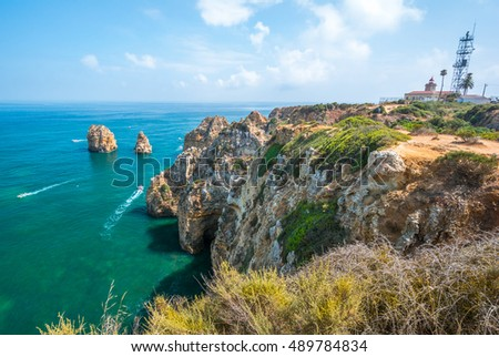 Scenic golden cliffs in Ponta da Piedade, Lagos, Algarve, Portugal