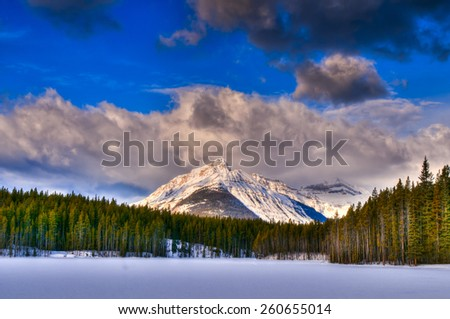 Scenic Herbert Lake in winter, Banff National Park, Alberta Canada - stock photo