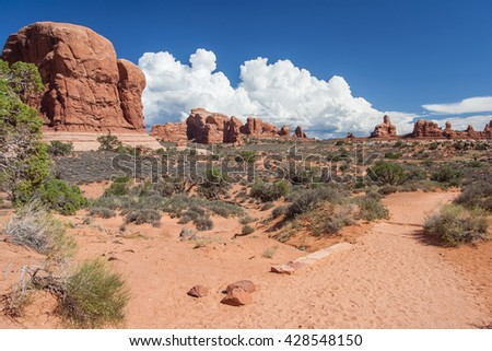 Scenic highway between Petrified Dunes and Fiery Furnace at Arches National Park, Utah, USA - stock photo