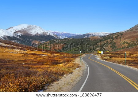Scenic highway in Colorado rocky mountains
