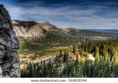 Scenic Hiking views from the Mount John Laurie area of Kananaskis Country in the Alberta Foothills - stock photo