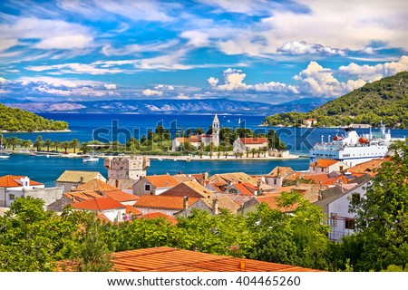 Scenic island of Vis waterfront, Dalmatia, Croatia - stock photo