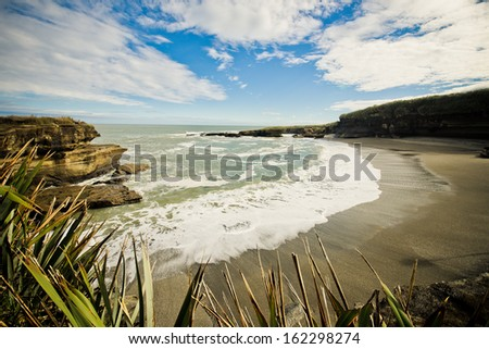 Scenic isolated beach in New Zealand